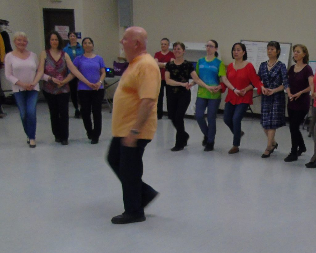 Learning a new dance with the International Folk Dancers of Ottawa at Jack Purcell Community Centre in Ottawa