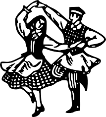 Folk dancing couple